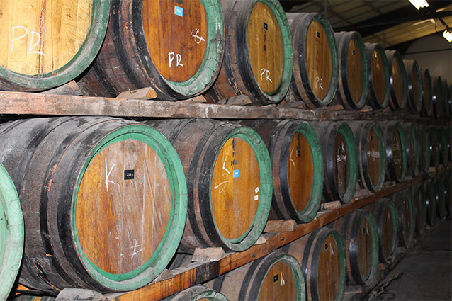 Golden slivovitz ages in oak barrels